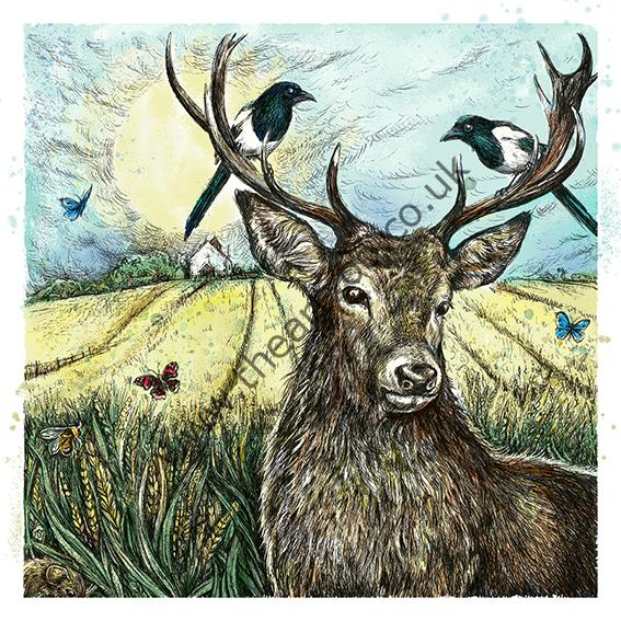 stag and magpies